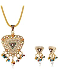 "AAKSHI ""Trikona Pendant Design"" With Colourful Pearl Drop Jewellery Set (AKS_ST_TRI)"