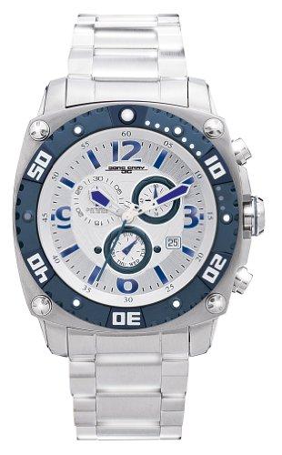 Jorg Gray JG9800-13 - Reloj cronógrafo de cuarzo para hombre con correa de acero inoxidable, color plateado