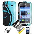 4 items Combo: ITUFFY (TM) LCD Screen Protector Film + Mini Stylus Pen + Case Opener + Design Rubberized Snap on Hard Shell Cover Faceplate Skin Phone Case for Prepaid Android Smartphone ZTE Whirl Z660G /Straight Talk (Blue Aurora Wave)