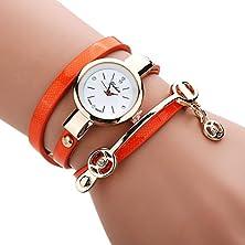 buy Gotd Women Metal Strap Watch Wrist Watch Pu Leather Band On Sale Alloy Case For Lady (Orange)