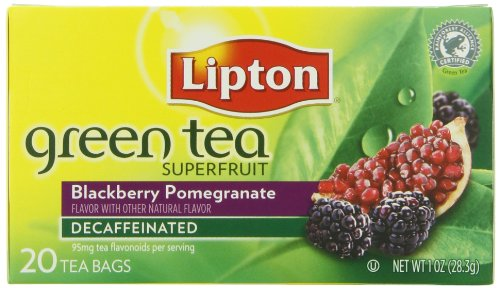 Lipton Tea Bags Green Tea Decaffeinated, Superfruit Blackberry And Pomegranate, 20 Count Package (Pack Of 6)