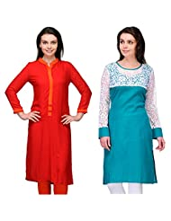 Cenizas Women's Cotton Blue Kurtas Pack Of 2 ( 2145BLU & 9031RED)