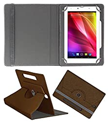 Acm Designer Rotating Case For Lava Ivory Plus Stand Cover Brown