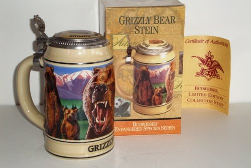 1993 Budweiser Endangered Species Series, Lidded Beer Stein, Grizzly Bear
