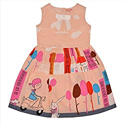 CrayonFlakes Kids Wear for Girls Cotton Sleeveless Frock Balloon Ride Dress