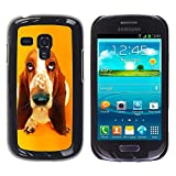 Slim Protector Shell Hard Case Cover for Samsung Galaxy S3 MINI NOT REGULAR I8190 I8190N Basset Hound  Pendant Ear Dog STRONG