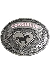 Cowgirl Up Women's Belt Buckle with Horse, Heart and Silver Tone for Female Rodeo Riders