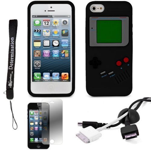 Black Game Boy Durable Silicone Protective Skin Case For Apple Iphone 5 Ios (6) Smart Phone + Black Cord Organizer + Apple Iphone 5 Screen Protector + An Ebigvalue Tm Determination Hand Strap