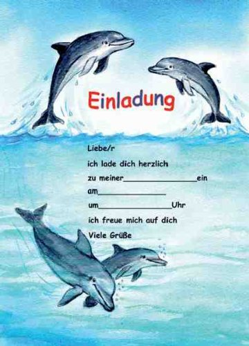 Delfine Delphine Einladungen Geburtstag Kindergeburtstags-Einladungen ...