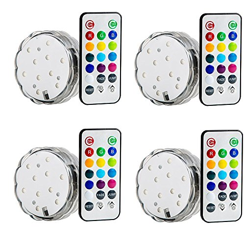 Lily'S Home Multicolor Led Submersible Party Light With Remote Control. Great For Wedding Centerpiece, Christmas, Party Lights. Set Of 4