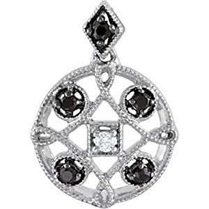 IceCarats Designer Jewelry Sterling Silver Black Spinel And Diamond Pendant