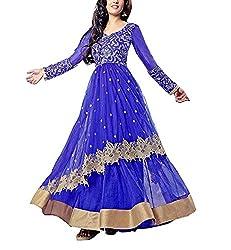 N N Enterprise Women's Satin Semi Stitched Suit (kfh riya sen 9051_Blue_Free Size)