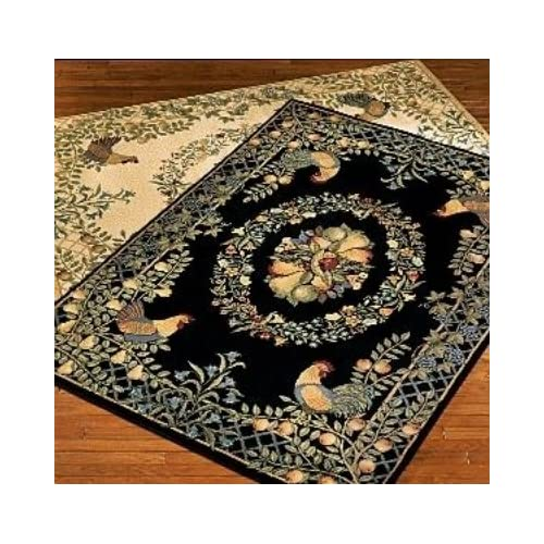 Country Kitchen Rugs: Provence Country Rooster Cream Area Rug Collection