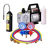 2 Stage Vacuum Pump+ Leak Detector +R410 Manifold Gauges Set HVAC Air Automotive