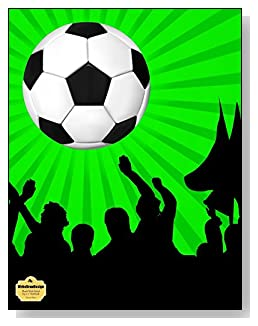 Soccer Fans Notebook - For the soccer lover in your life! A bright green and black background behind a large soccer ball make a dramatic combination for the cover of this blank and wide ruled notebook with blank pages on the left and lined pages on the right.