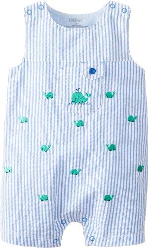 Little Me Baby-Boys Newborn Whale Sunsuit, Blue Stripe, 6 Months front-499219