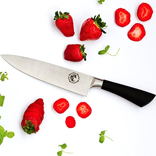 Chef Knife - Kitchen Knife - Multipurpose 8 Inch Stainless Steel Straight Edge - Home or Restaurant - Food Safe