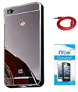 TBZ Metal Bumper Acrylic Mirror Back Cover Case for Xiaomi Redmi 3S with AUX Cable and Tempered Screen Guard -Black