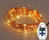 Christmas LED Starry String Lights with Remote-120 LEDs 20 ft Copper Wire Lights-Warm White