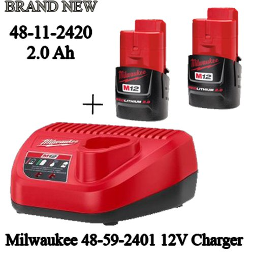 Milwaukee 48-11-2420 (2) M12 REDLITHIUM 2.0 Compact 12V Batteries & M12 Lithium-ion Battery Charger (48-59-2401) KIT (Milwaukee Fuel 12 Volt compare prices)
