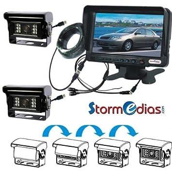 2 Cameras de recul pro 150° chauffantes + CLAPET + 7 pouces 11-32 V2 Cameras de recul pro 150° chauffantes + CLAPET + 7 pouces 11-32 V