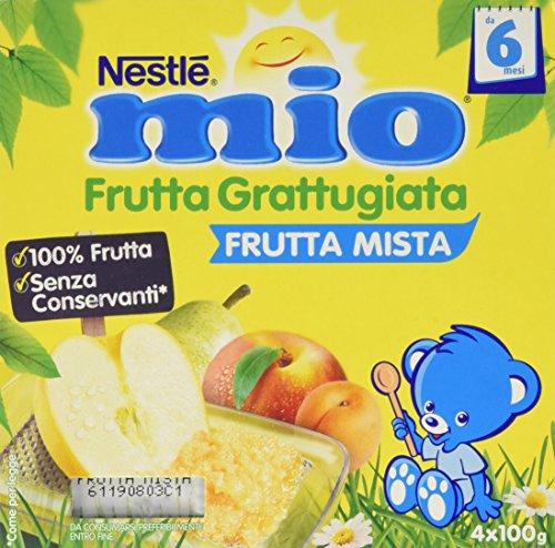 Nestlé Mio Frutta grattugiata Frutta Mista da 6 Mesi, senza Glutine, Confezione da 4x100 gr, Totale: 400 gr