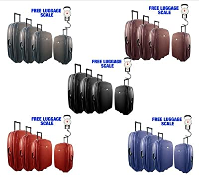 4pc Lightweight Trolley Suitcase Luggage Set Bag Black Blue Red Grey Brown Scale