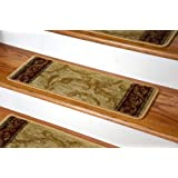 Premium Carpet Stair Treads - Tan Scrollworks 13 Pack