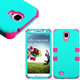 myLife (TM) Teal and Pink - Smooth Color Design (3 Piece Hybrid) Hard and Soft Case for the Samsung Galaxy S4