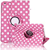 HDE 360° Rotating Leather Folding Folio Case Stand Cover for iPad Mini 1/2/3 and Retina Tablet (Hot Pink Polka Dot)
