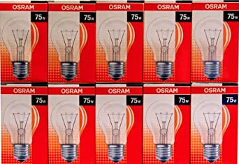 10 x osram gl hlampe gl hbirne 75w 75 watt klar e27 ovp. Black Bedroom Furniture Sets. Home Design Ideas