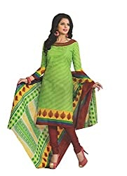 Divisha Fashions Green and Red Cotton Printed Churiddar Suit with Dupatta