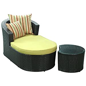 LexMod Camouflage Outdoor Wicker Patio Chaise Lounge 2 Piece Set