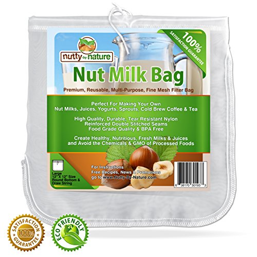 Nutty-By-Nature All Purpose Food Strainer Bag For Nut Milks, Cold Brew Coffee, Tea, Fresh Juice, Cheese Making, Sprouting and More (Individual Juicer compare prices)