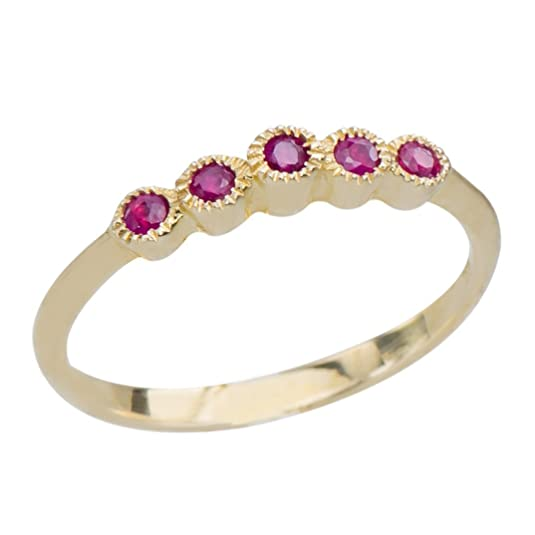 GemsLovers 9K Yellow Gold Genuine Red Ruby Womens Ring - July Birthstone