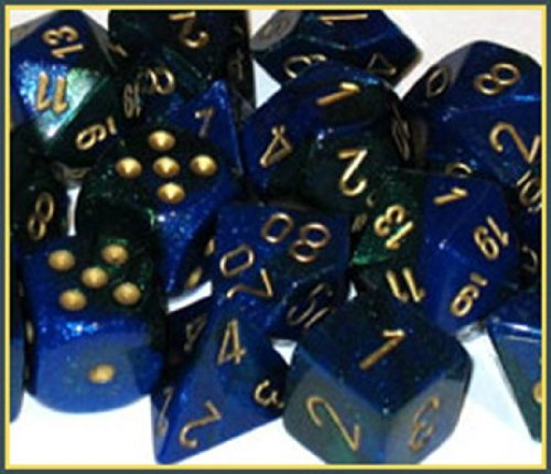Polyhedral 7-Die Gemini Dice Set: Blue & Green With Gold (D4, D6, D8, D10, D12, D20 & D00)