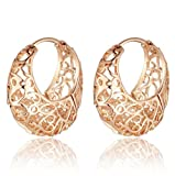 18k Rose Gold Plated Ornate Heart Filigree Round Hoop Earrings - 1112003