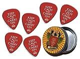 Keep Calm And Carry On 6 X Logo Guitar Picks & Stash Tin (GD)