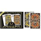 Da Vinci Harmony, Italian 100% Plastic Playing Cards, 2-Deck Bridge Size Regular Index Set, with Hard Shell Case & 2 Cut Cards