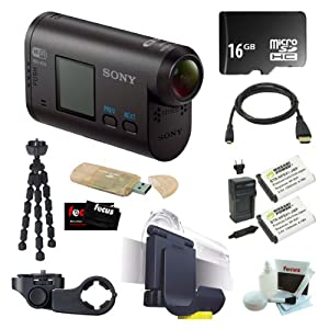 Sony HDR-AS15 Wi-Fi HD Action Video Camcorder Camera + 16GB Micro SDHC + 2 Wasabi NP-BX1 Batteries and Charger + Sony VCTHM1 Handlebar Mount + Sony VCTGM1 Headband and Clip-on Kit + Micro HDMI Cable + Accessory Kit