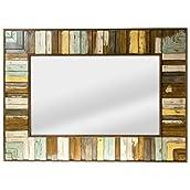 Striped Wood Wall Mirror