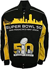NFL Men's Super Bowl 50th Anniversary Cotton Twill Button up Collectible Jacket (Small)