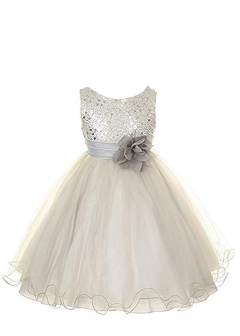 Kids-Dream-Sequin-Mesh-Flower-Girl-Dress-Infant-Toddler-Little-Girl-2T-14-