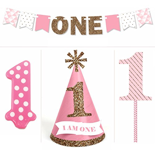 1st Birthday Girl - Smash Cake Kit - High Chair Decorations (Birthday Girl Supplies compare prices)