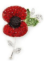 Red, Black, Green Crystal Poppy Flower Brooch In Silver Tone - 50mm L