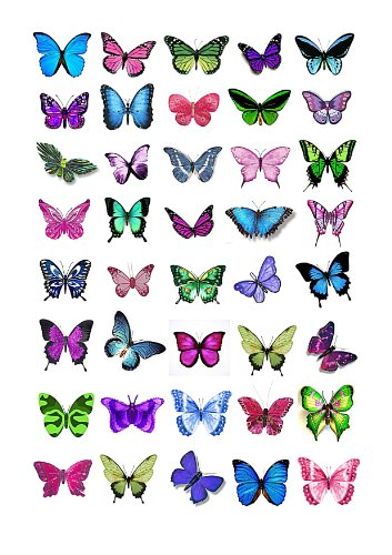 40x Mixed Colour Butterflies Edible Cake Toppers (Birthday Cupcake Topper by eShack)