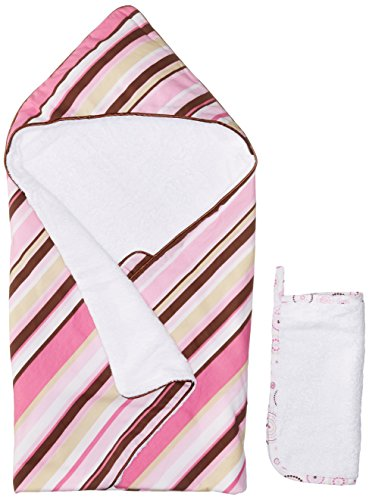 Caden Lane Classic Collection Stripe Hooded Towel Set, Pink, Infant