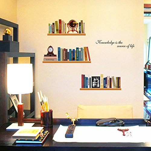 Elegant Study Imitation Bookshelves Books Clock Vinyl Wall Decal PVC Home Sticker House Paper Decoration Wallpaper Living Room Bedroom Kitchen Art Picture DIY Murals Kids Nursery Baby Decor