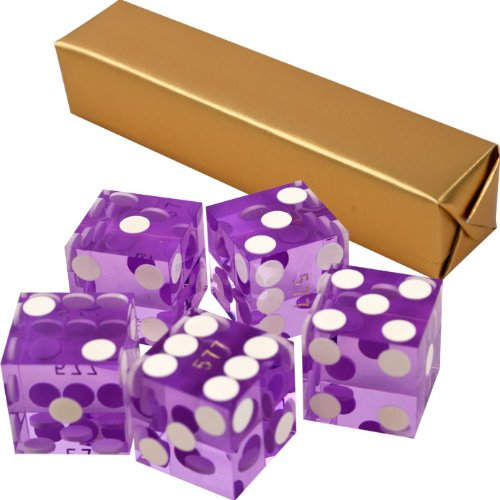Stick of 5 Purple/Violet Precision Casino Razor Edge Craps Dice - Comes with 5 Standard Bonus Dice! (Craps Dice Control compare prices)