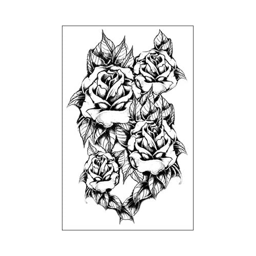 Amazon.com : Black and White Rose Cluster Temporary Tattoo : Beauty